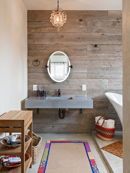 Bathroom with wooden wall