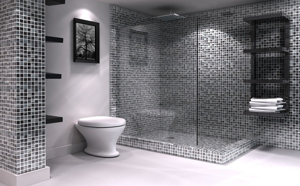 Big tiles in a small bathroom - Small Bathrooms With Grand Designs