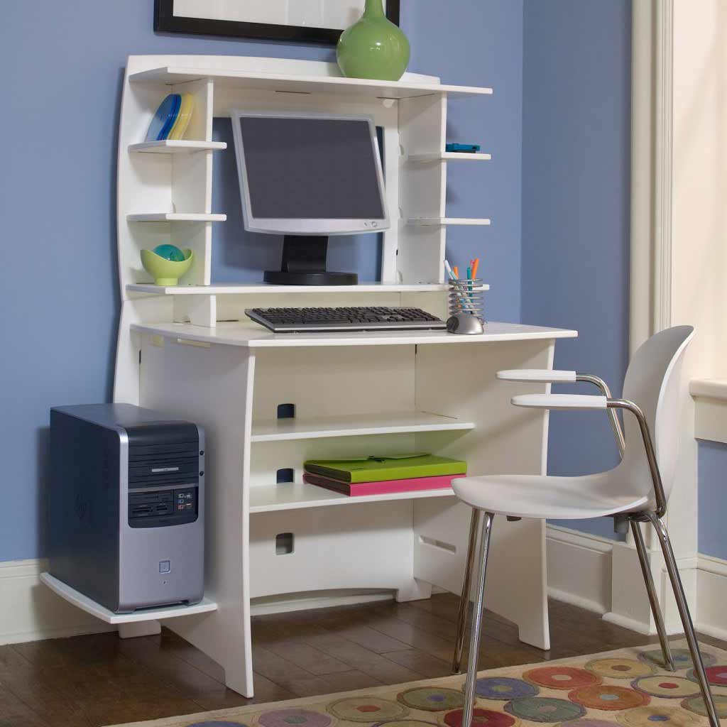 White desk with storge