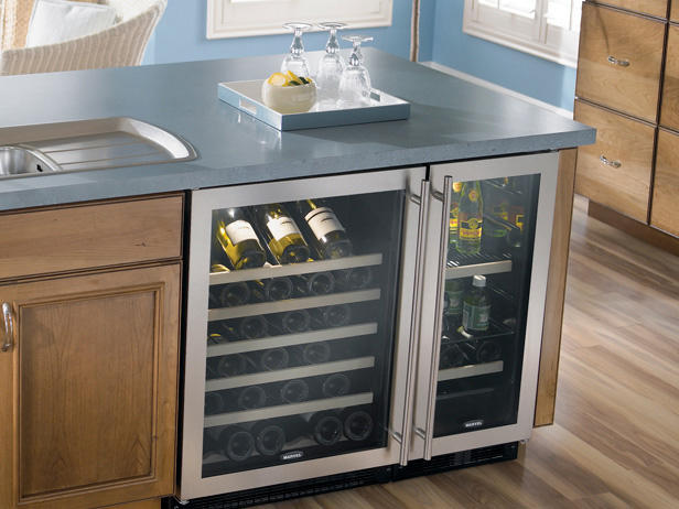 Kitchen island with a chiller
