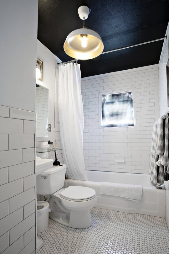 Shower and tub share a space