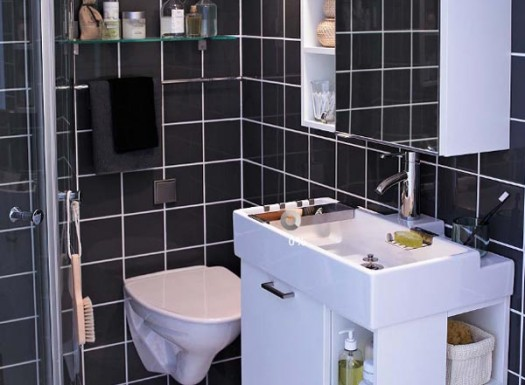 Black and white bath tiles
