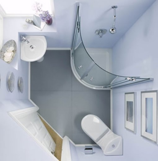 Tiny bathroom fitted just under the stairs