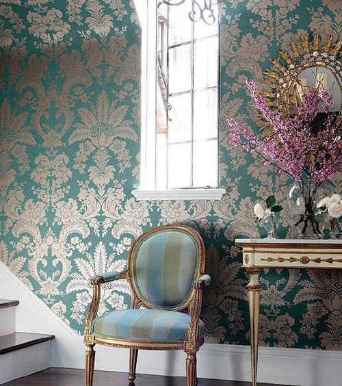Vintage wallpaper with intricate patterns