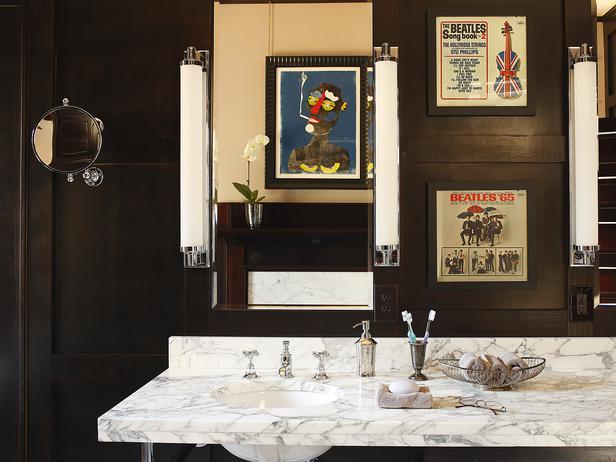Bathroom with art on the wall