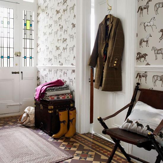 Wallpapered hallway