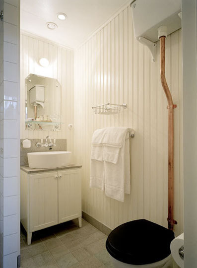 Bathroom with a black toilet seat
