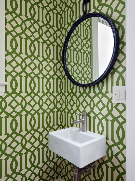 Green geometric printed wallpaper