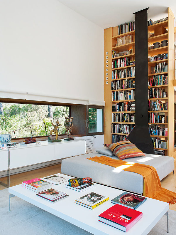 The bookcase is a key feature of the home