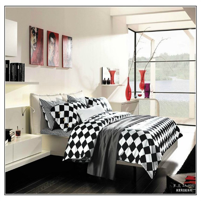 Monochrome checkerboard bedding