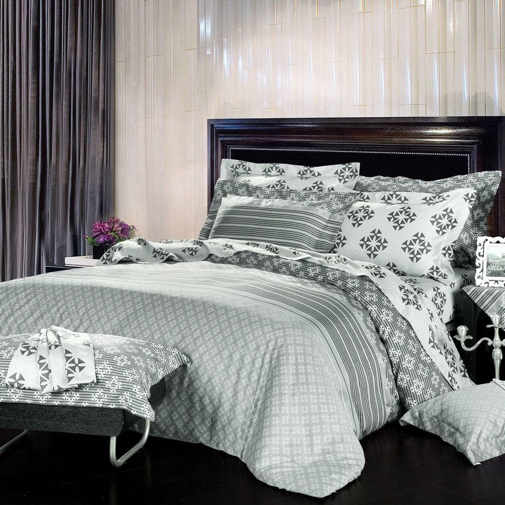 Grey patterned bedding