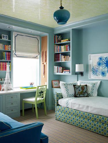 Interior with light blue walls
