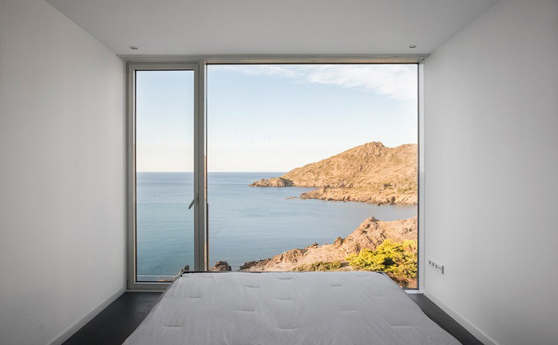 spare bedroom with ocean views