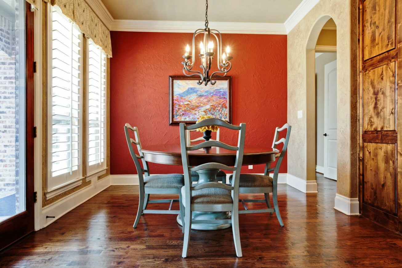 Dining room with orange wall