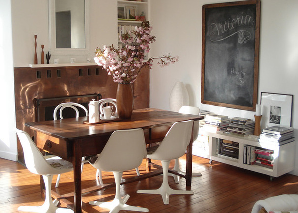 Dining room with a blackboard
