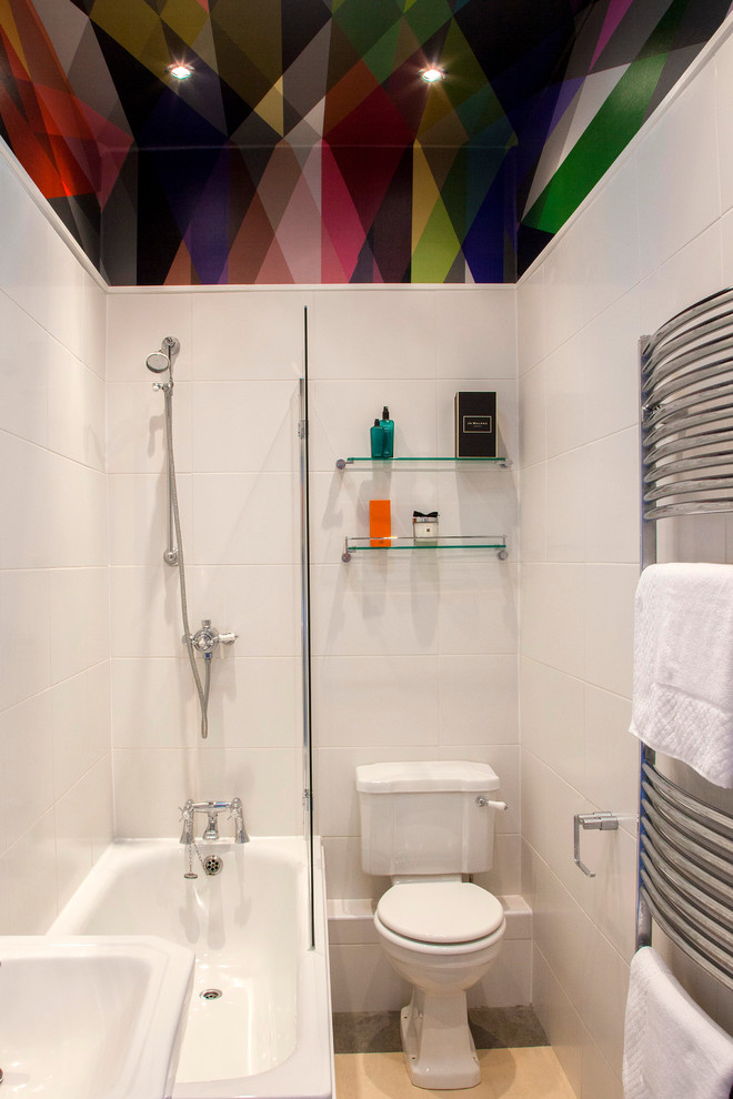 White bathroom with a colorful roofing
