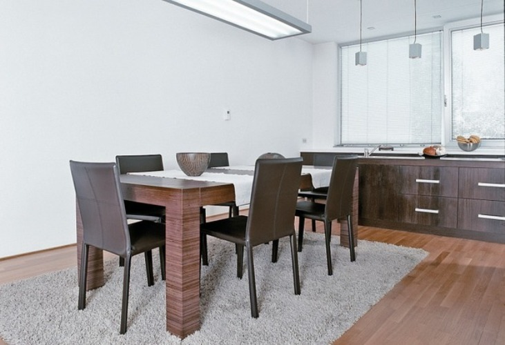 Dining room with an interesting lighting fixture