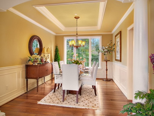 Cream and white dining room