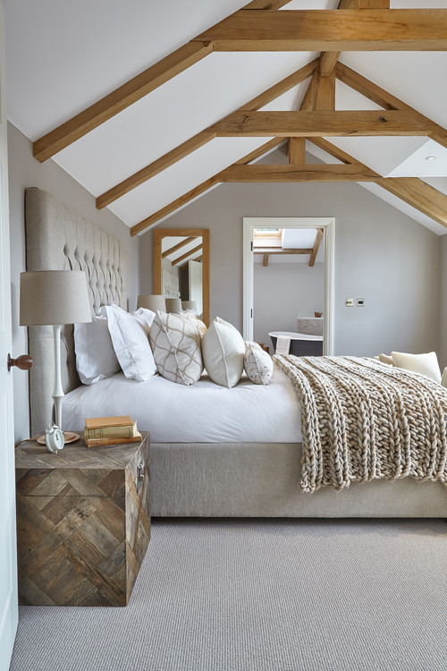 Bedroom with wooden beams