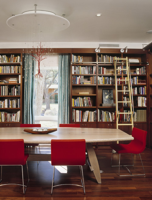 Dining room with book shelves