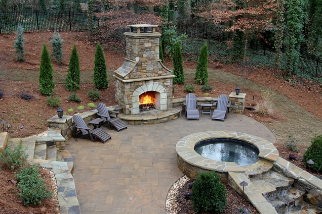 Garden with a fireplace