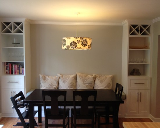 Dining room with a black table