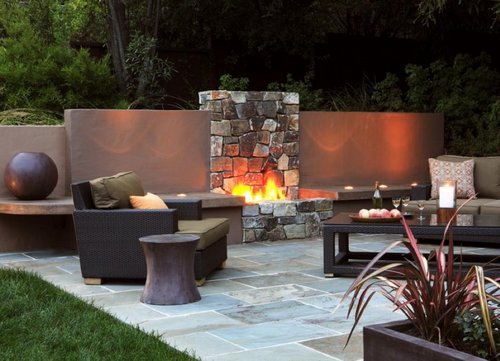 Contemporary stone fireplace design