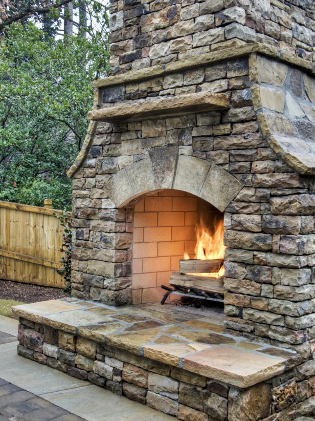 Fireplace made up of stones