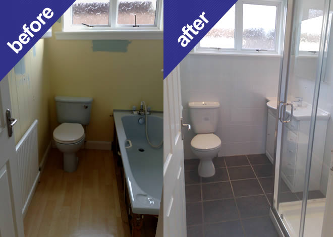 Bathroom with grey floor tiles