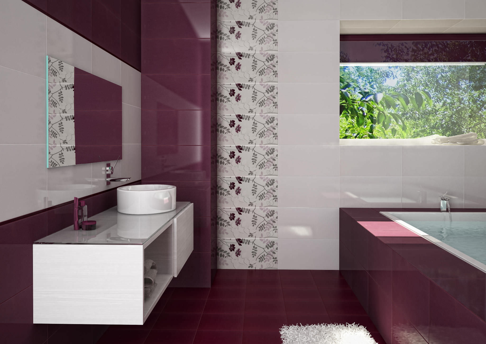 White and maroon bathroom design