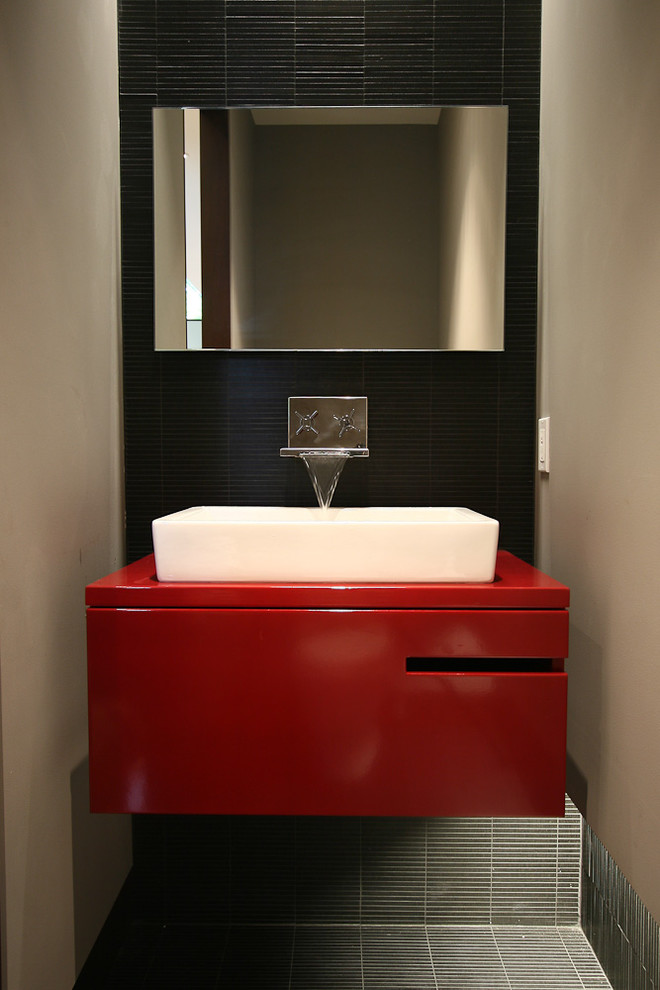 Red and black bathroom