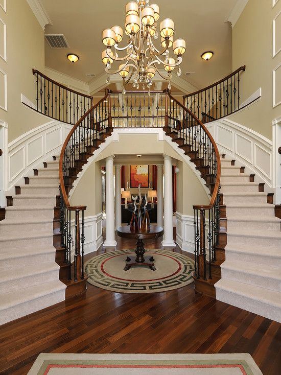 Home interor with double stairs