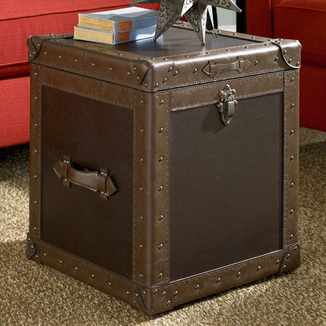 Square shaped leather trunk