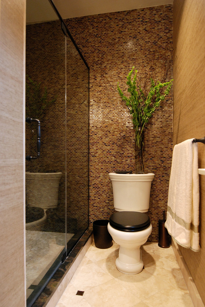 Brown mosaic bathroom wall tiles