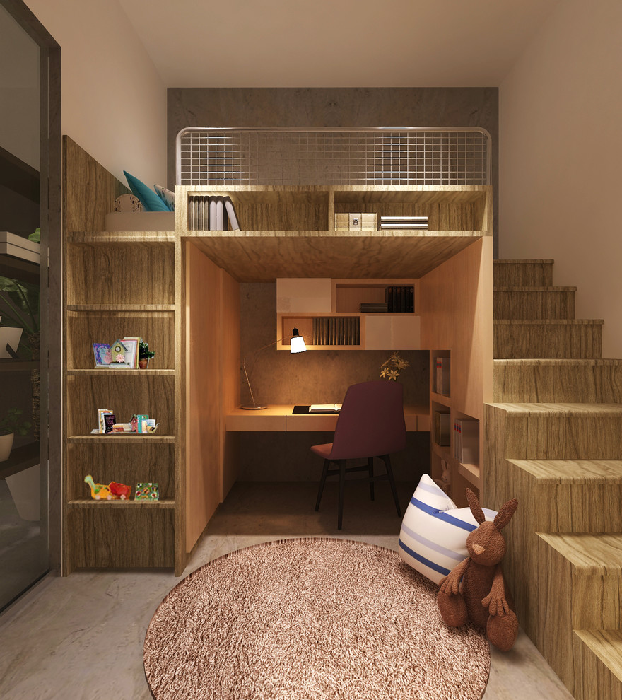 kid's bedroom with recessed shelves