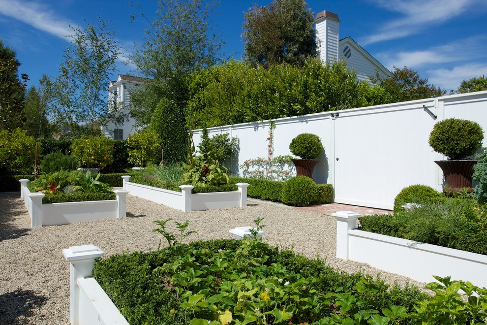 Garden with white raised beds