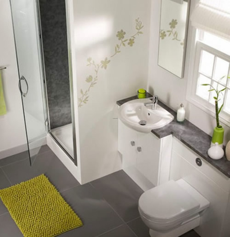 Bathroom with yellow green decors