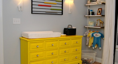 Home interior with a yellow chest drawer