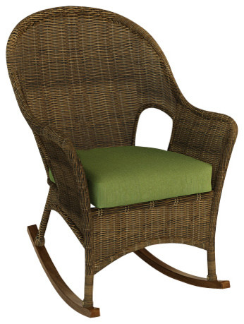 Wicker rocker with a customized cushion