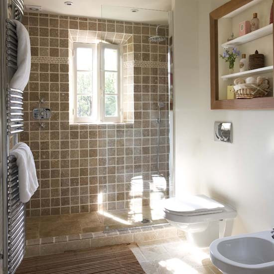 Brown tiled bathroom