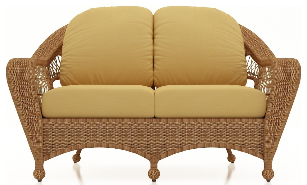 Loveseat made from straw wicker