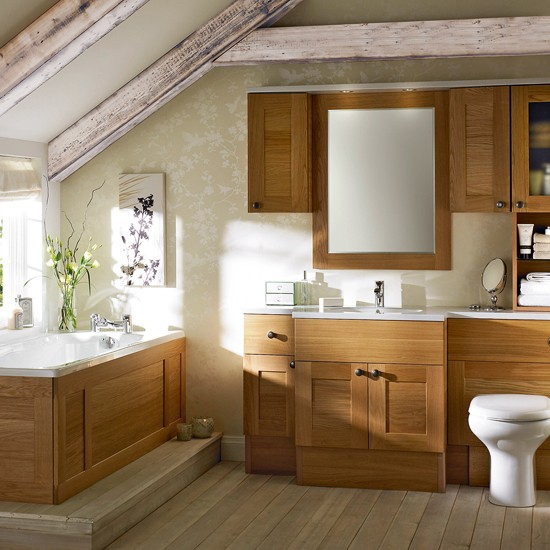 Bathroom with wooden panels