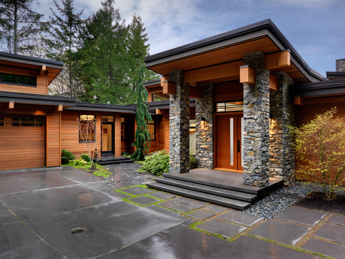 Peninsula residence home design by keith baker in canada for Modern stone houses architecture