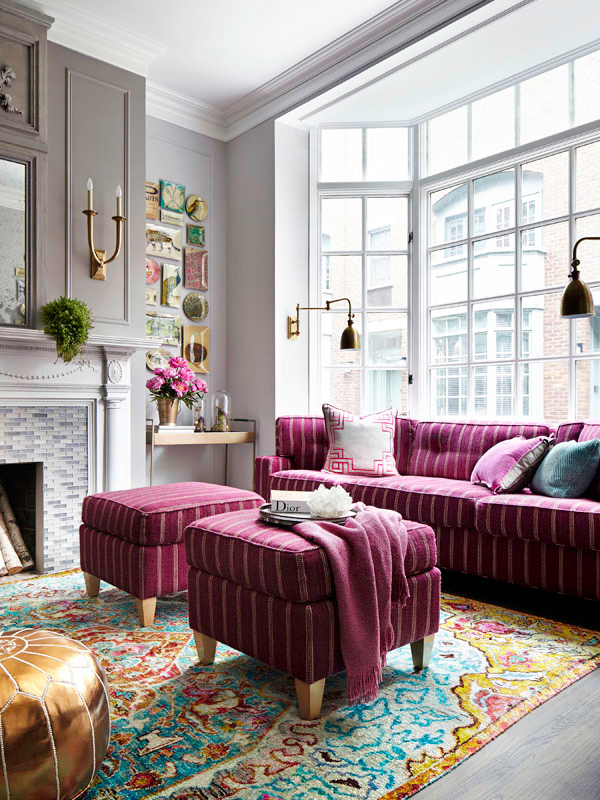 purple sofa and two purple ottomans ottoman