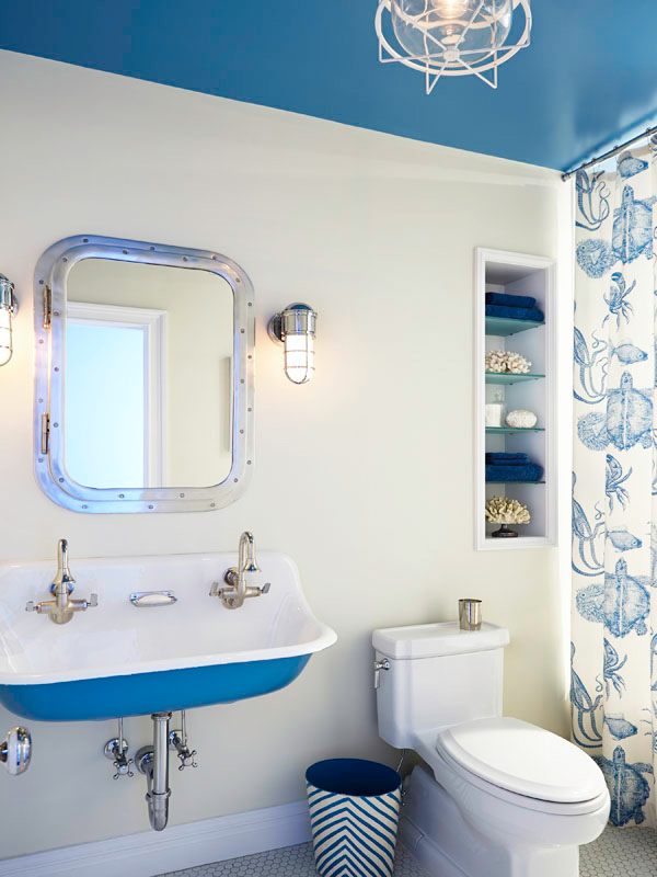 blue amd white bathroom