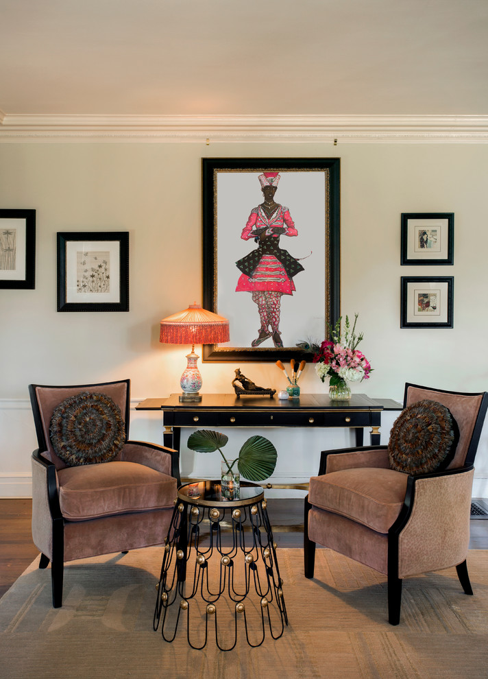 Living room with a black art deco frame