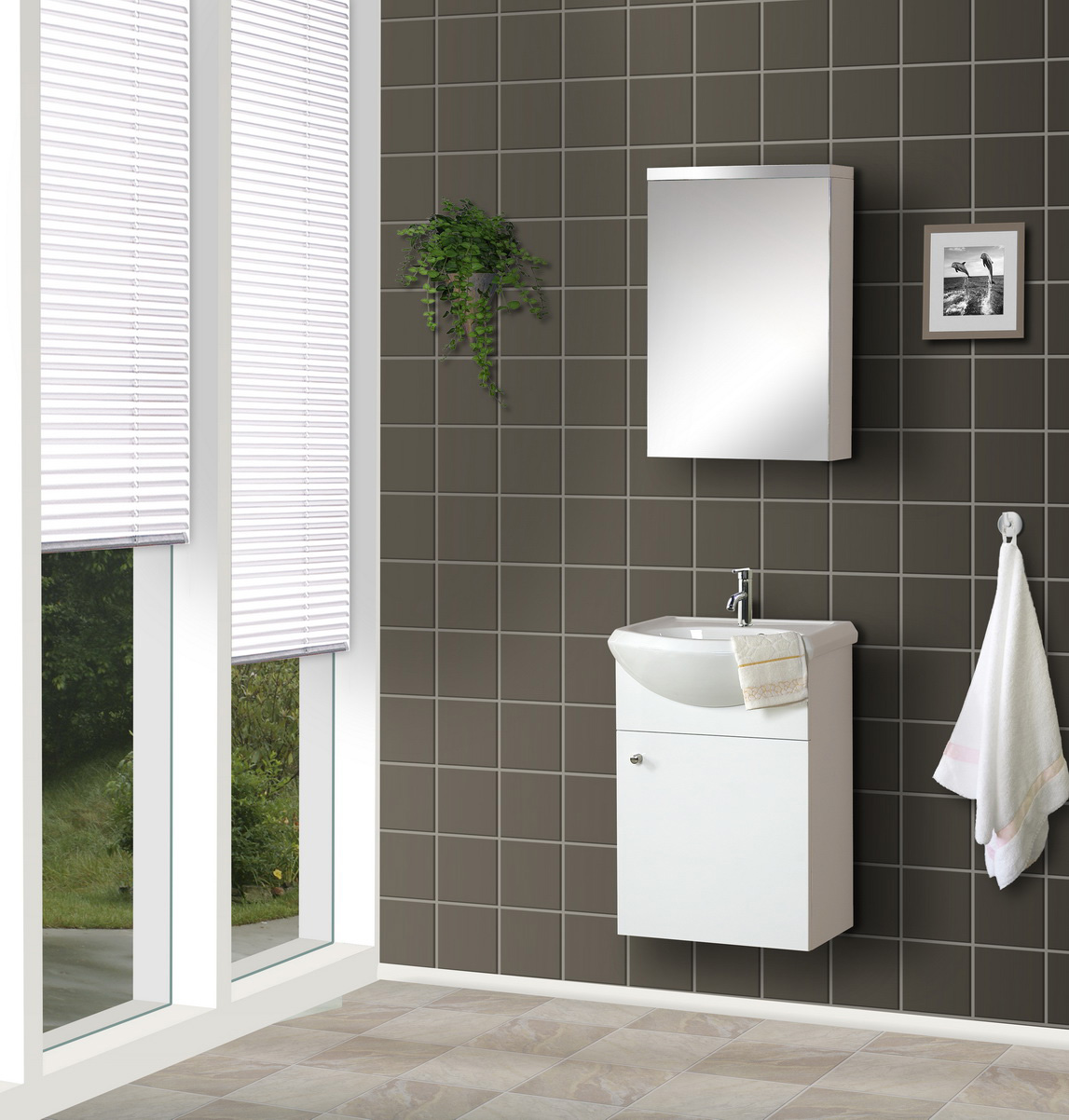 Bathroom with a ceramic sink vanity