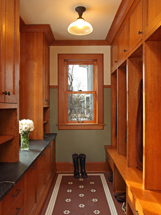 Mudroom with cabintes and open shelves