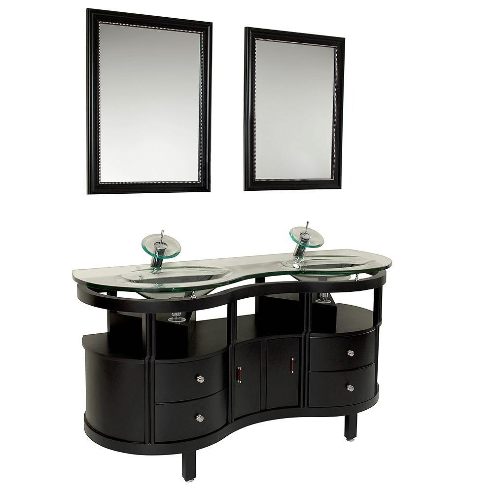 Clear glass double sink vanity