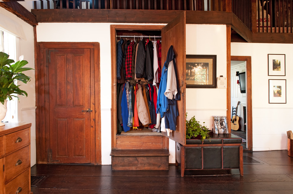 Sturdy wood cabinet and a leather trunk